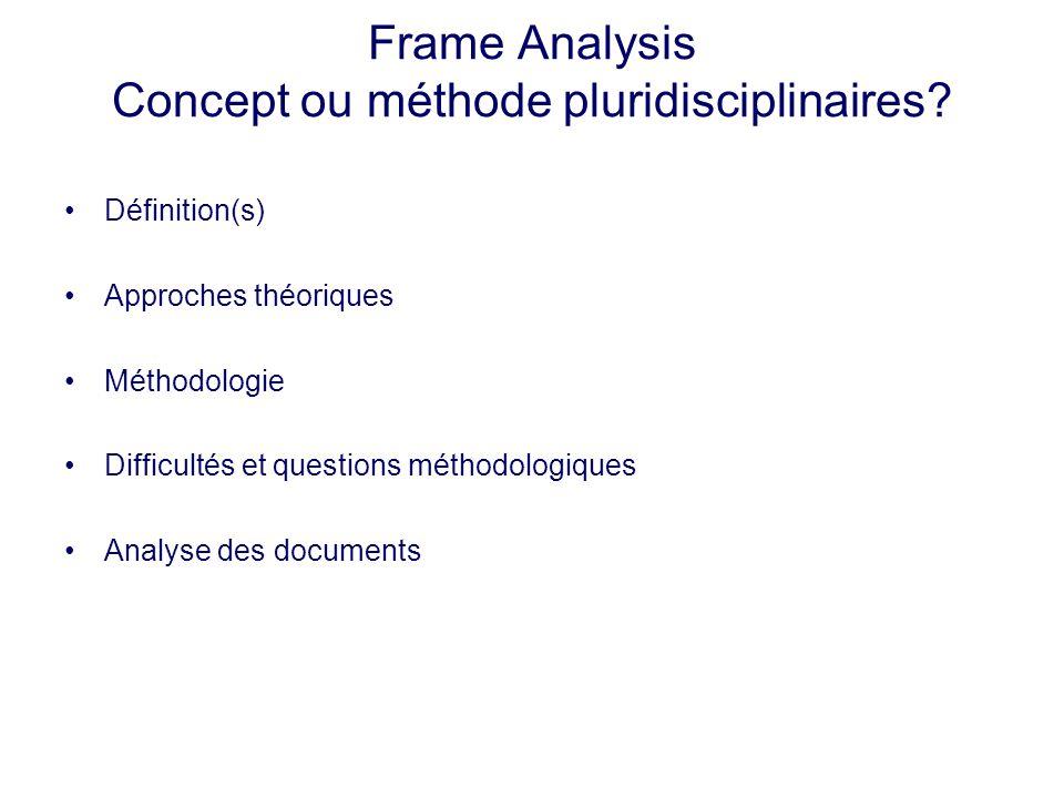 Frame Analysis Concept ou méthode pluridisciplinaires? Définition(s) Approches théoriques Méthodologie Difficultés et questions méthodologiques Analys