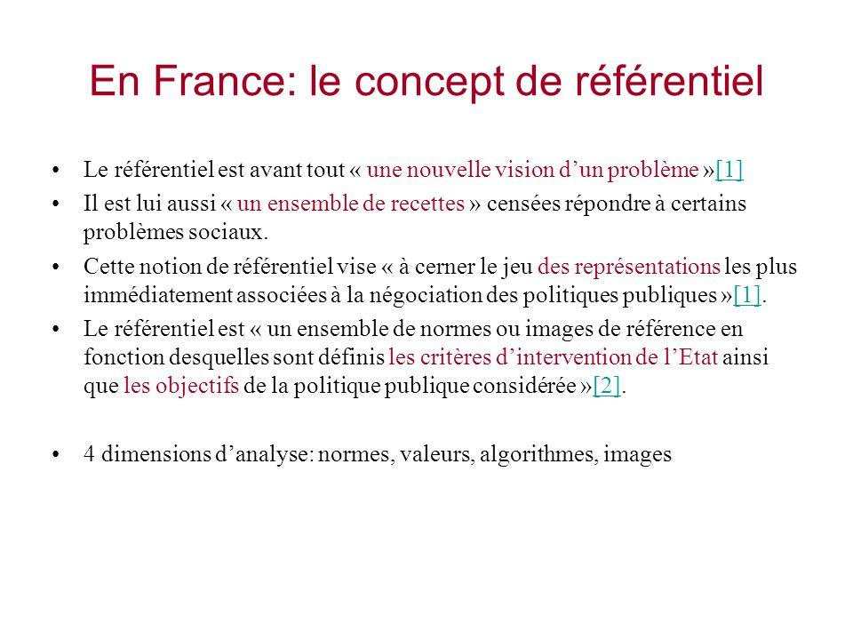 En France: le concept de référentiel Le référentiel est avant tout « une nouvelle vision dun problème »[1][1] Il est lui aussi « un ensemble de recett