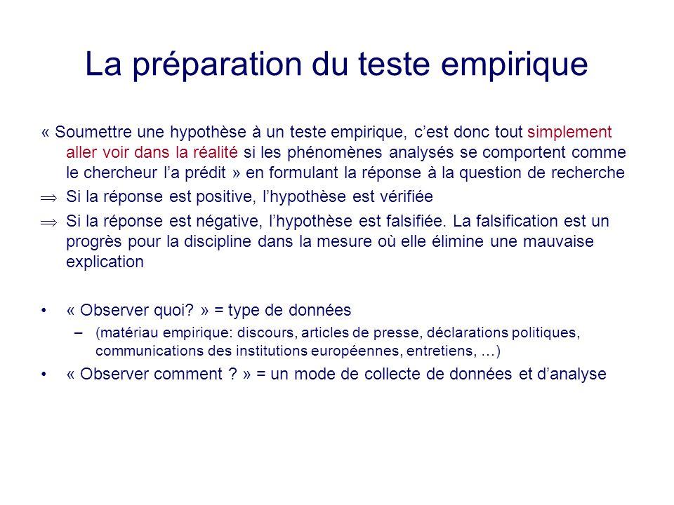 La préparation du teste empirique « Soumettre une hypothèse à un teste empirique, cest donc tout simplement aller voir dans la réalité si les phénomèn