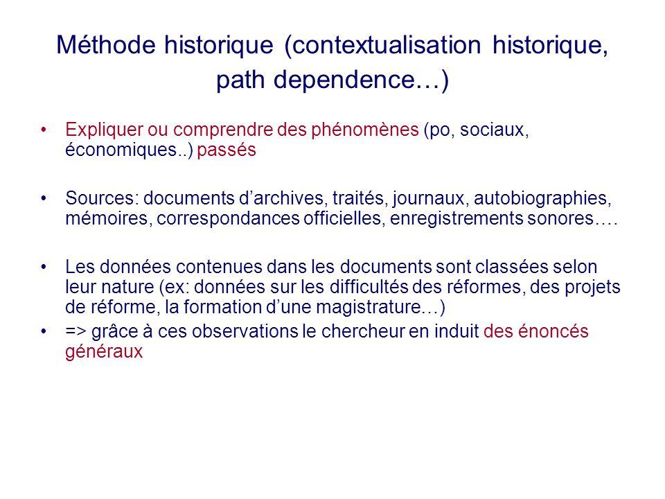 Méthode historique (contextualisation historique, path dependence…) Expliquer ou comprendre des phénomènes (po, sociaux, économiques..) passés Sources