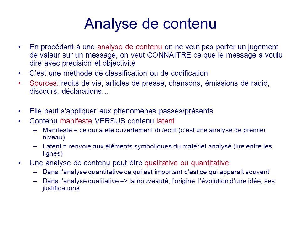 Analyse de contenu En procédant à une analyse de contenu on ne veut pas porter un jugement de valeur sur un message, on veut CONNAITRE ce que le messa