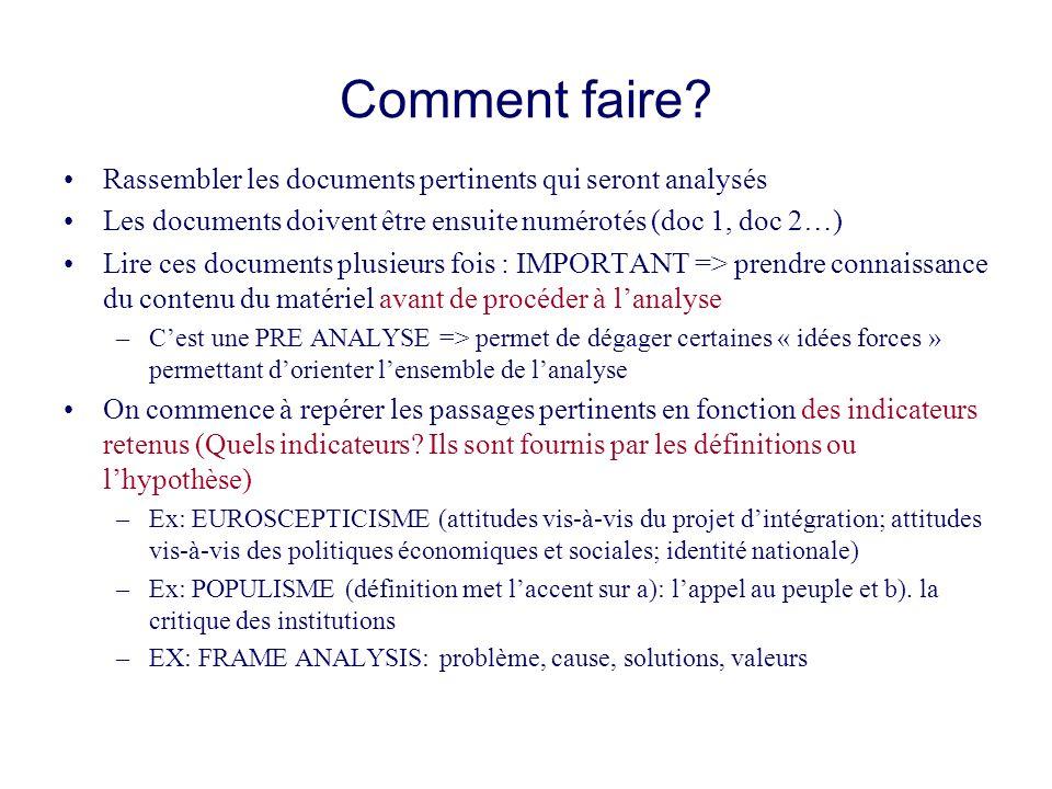 Comment faire? Rassembler les documents pertinents qui seront analysés Les documents doivent être ensuite numérotés (doc 1, doc 2…) Lire ces documents