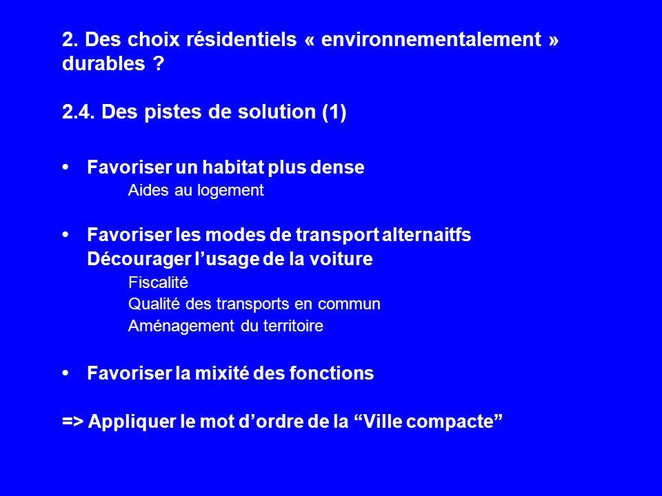 2. Des choix résidentiels « environnementalement » durables ? 2.4. Des pistes de solution (1) Favoriser un habitat plus dense Aides au logement Favori