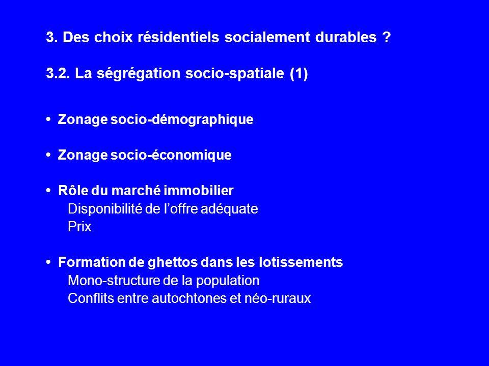 3. Des choix résidentiels socialement durables ? 3.2. La ségrégation socio-spatiale (1) Zonage socio-démographique Zonage socio-économique Rôle du mar