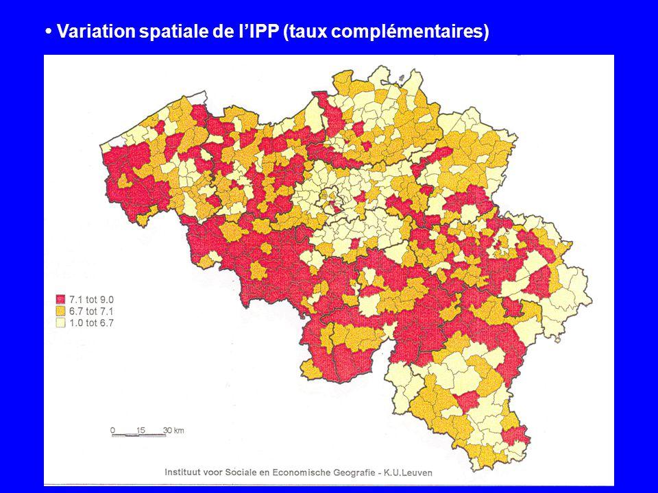 Variation spatiale de lIPP (taux complémentaires)