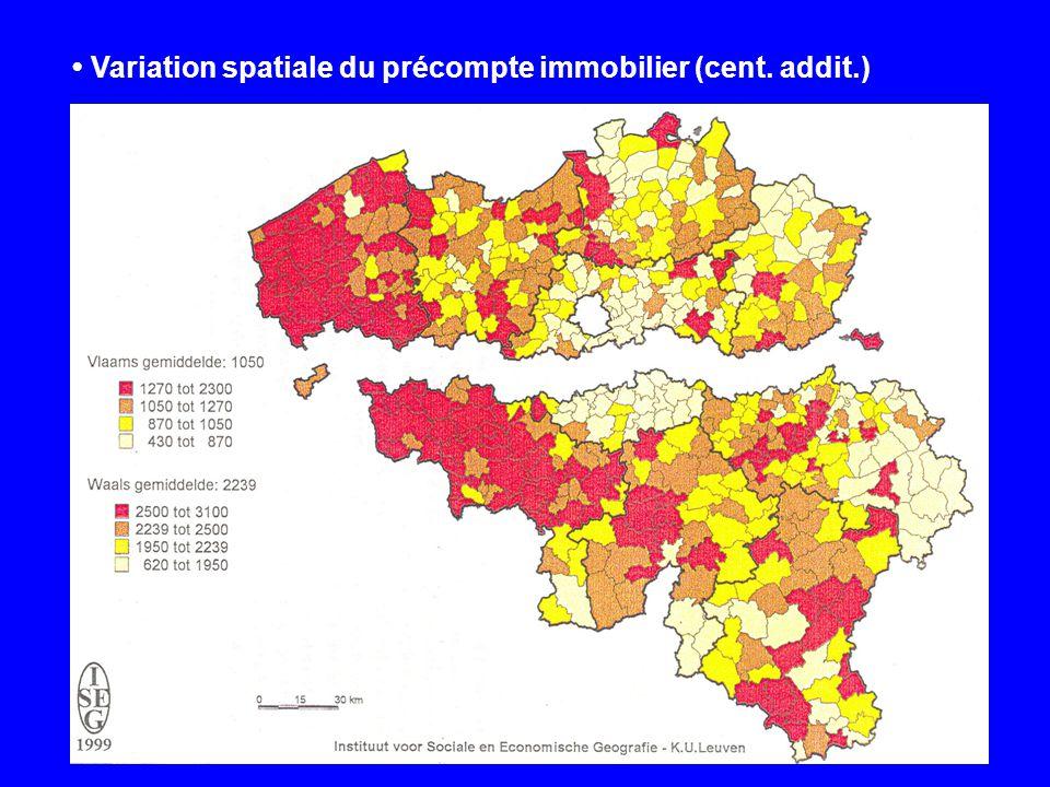 Variation spatiale du précompte immobilier (cent. addit.)