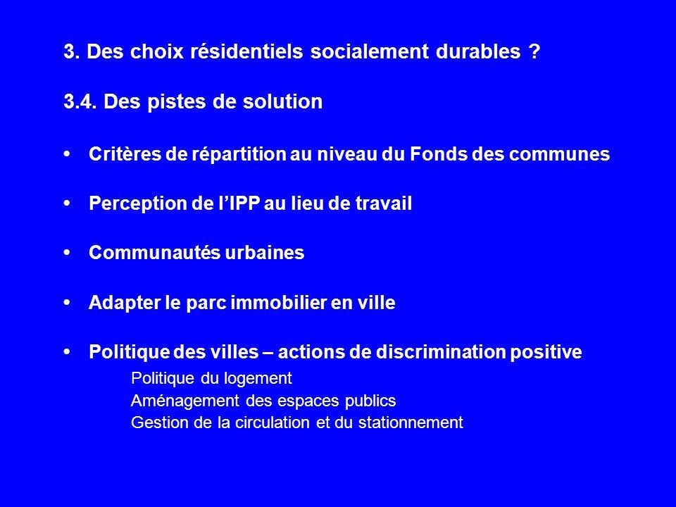 3. Des choix résidentiels socialement durables ? 3.4. Des pistes de solution Critères de répartition au niveau du Fonds des communes Perception de lIP