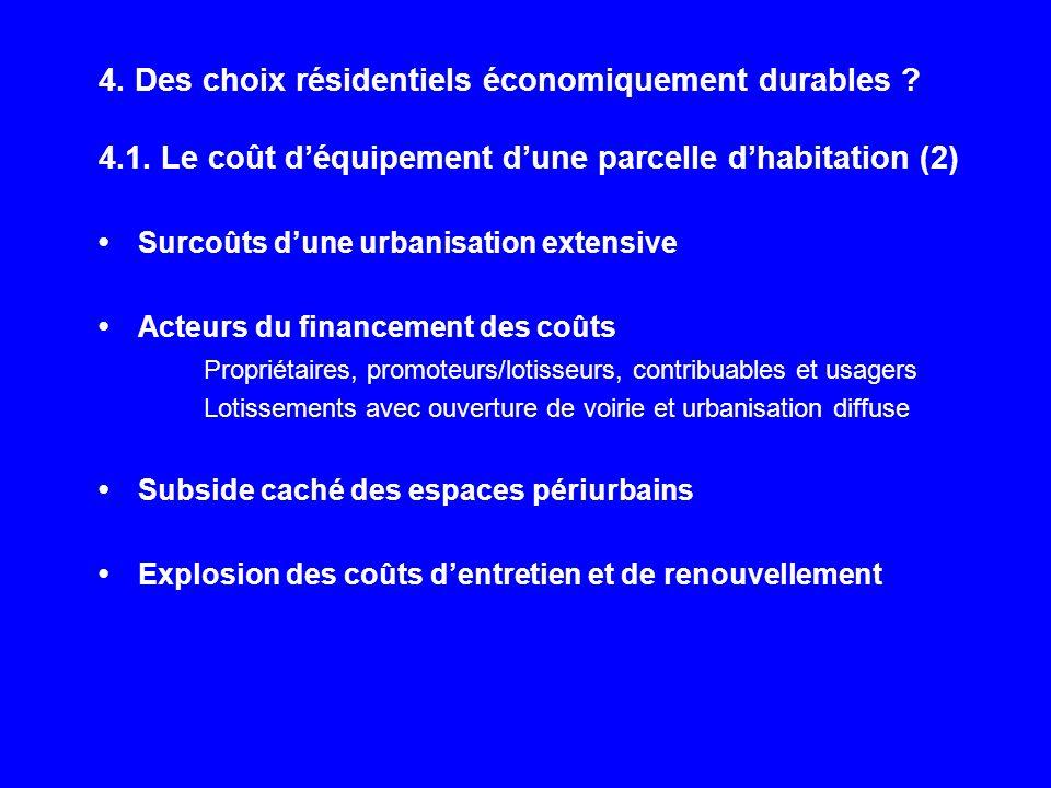 4. Des choix résidentiels économiquement durables ? 4.1. Le coût déquipement dune parcelle dhabitation (2) Surcoûts dune urbanisation extensive Acteur