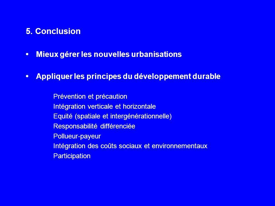 5. Conclusion Mieux gérer les nouvelles urbanisations Appliquer les principes du développement durable Prévention et précaution Intégration verticale