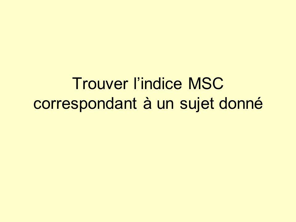 Trouver lindice MSC correspondant à un sujet donné