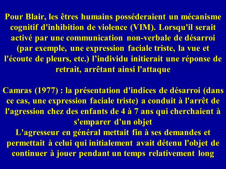 Pour Blair, les êtres humains posséderaient un mécanisme cognitif d inhibition de violence (VIM).