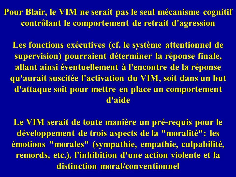 Pour Blair, le VIM ne serait pas le seul mécanisme cognitif contrôlant le comportement de retrait d agression Les fonctions exécutives (cf.