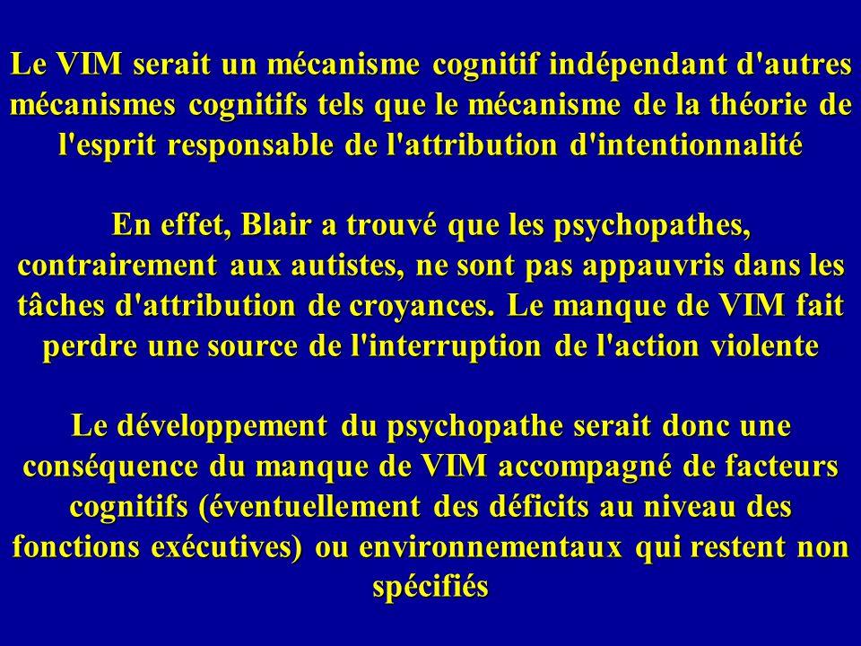 Le VIM serait un mécanisme cognitif indépendant d autres mécanismes cognitifs tels que le mécanisme de la théorie de l esprit responsable de l attribution d intentionnalité En effet, Blair a trouvé que les psychopathes, contrairement aux autistes, ne sont pas appauvris dans les tâches d attribution de croyances.