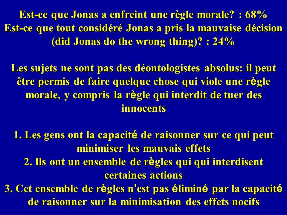 Est-ce que Jonas a enfreint une règle morale.