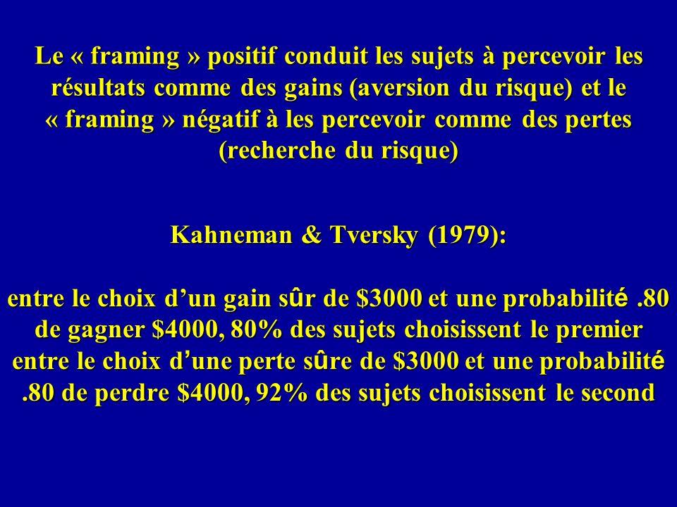 Le « framing » positif conduit les sujets à percevoir les résultats comme des gains (aversion du risque) et le « framing » négatif à les percevoir comme des pertes (recherche du risque) Kahneman & Tversky (1979): entre le choix dun gain s û r de $3000 et une probabilit é.80 de gagner $4000, 80% des sujets choisissent le premier entre le choix d une perte s û re de $3000 et une probabilit é.80 de perdre $4000, 92% des sujets choisissent le second