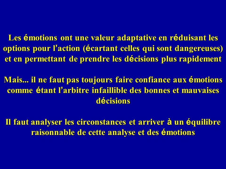 Les é motions ont une valeur adaptative en r é duisant les options pour l action ( é cartant celles qui sont dangereuses) et en permettant de prendre les d é cisions plus rapidement Mais...