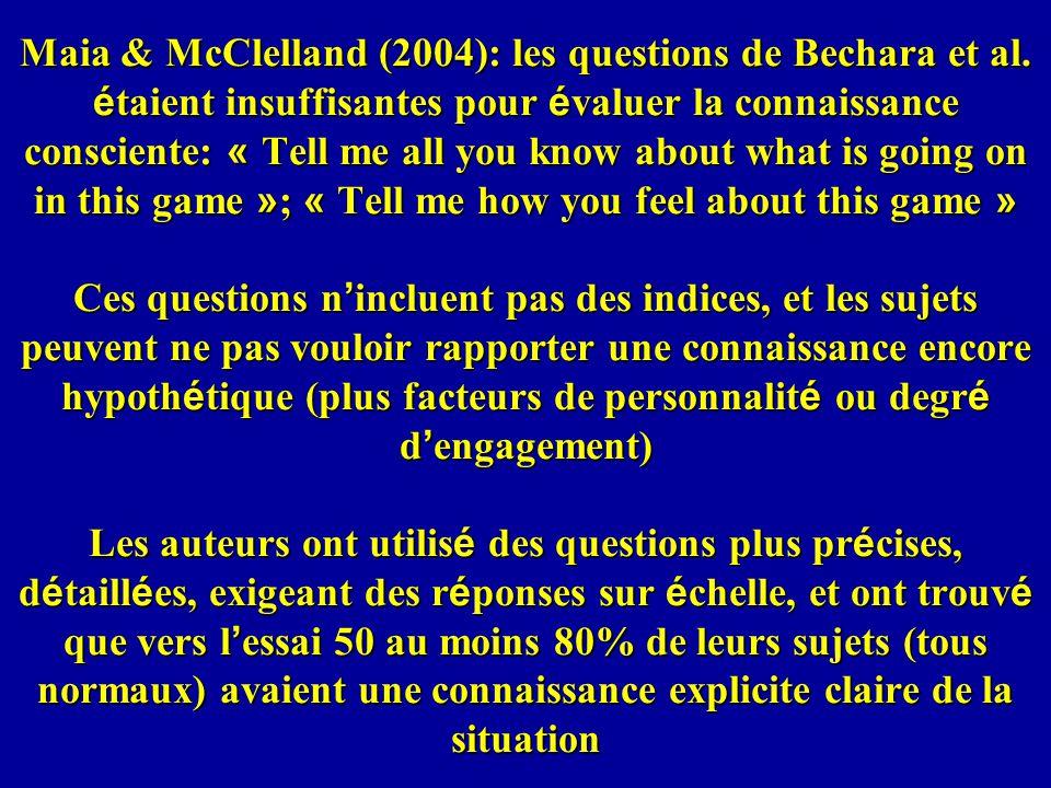 Maia & McClelland (2004): les questions de Bechara et al.