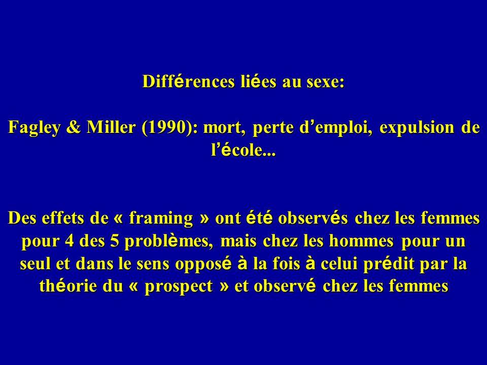 Diff é rences li é es au sexe: Fagley & Miller (1990): mort, perte d emploi, expulsion de l é cole...