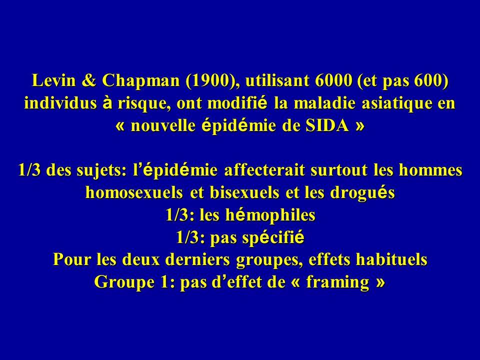 Levin & Chapman (1900), utilisant 6000 (et pas 600) individus à risque, ont modifi é la maladie asiatique en « nouvelle é pid é mie de SIDA » 1/3 des sujets: l é pid é mie affecterait surtout les hommes homosexuels et bisexuels et les drogu é s 1/3: les h é mophiles 1/3: pas sp é cifi é Pour les deux derniers groupes, effets habituels Groupe 1: pas d effet de « framing »