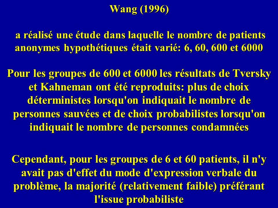 Wang (1996) a réalisé une étude dans laquelle le nombre de patients anonymes hypothétiques était varié: 6, 60, 600 et 6000 Pour les groupes de 600 et 6000 les résultats de Tversky et Kahneman ont été reproduits: plus de choix déterministes lorsqu on indiquait le nombre de personnes sauvées et de choix probabilistes lorsqu on indiquait le nombre de personnes condamnées Cependant, pour les groupes de 6 et 60 patients, il n y avait pas d effet du mode d expression verbale du problème, la majorité (relativement faible) préférant l issue probabiliste