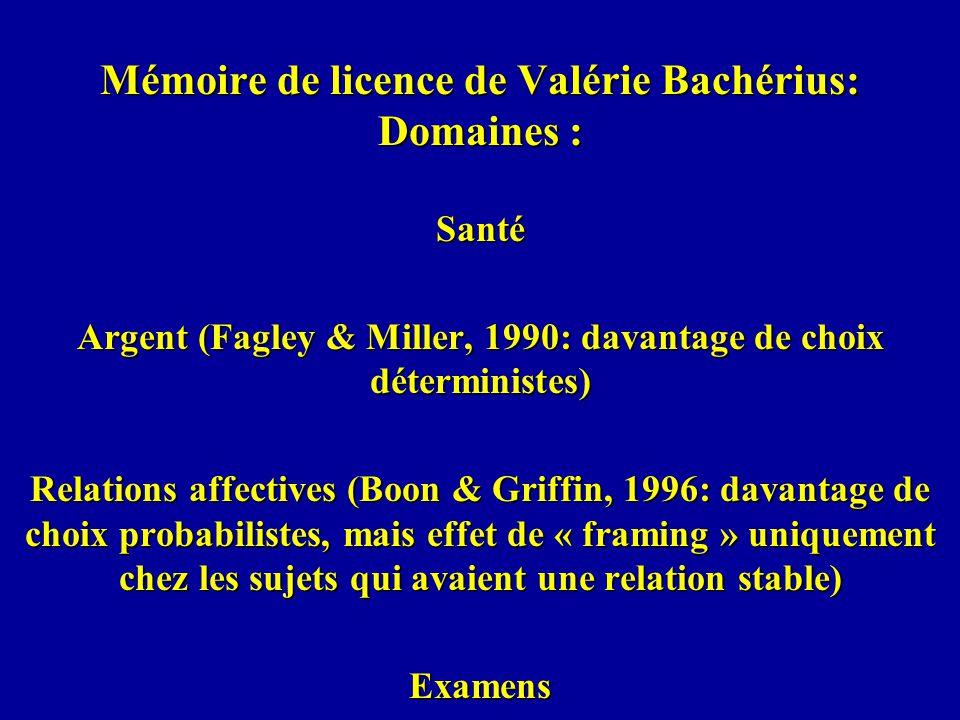 Mémoire de licence de Valérie Bachérius: Domaines : Santé Argent (Fagley & Miller, 1990: davantage de choix déterministes) Relations affectives (Boon & Griffin, 1996: davantage de choix probabilistes, mais effet de « framing » uniquement chez les sujets qui avaient une relation stable) Examens