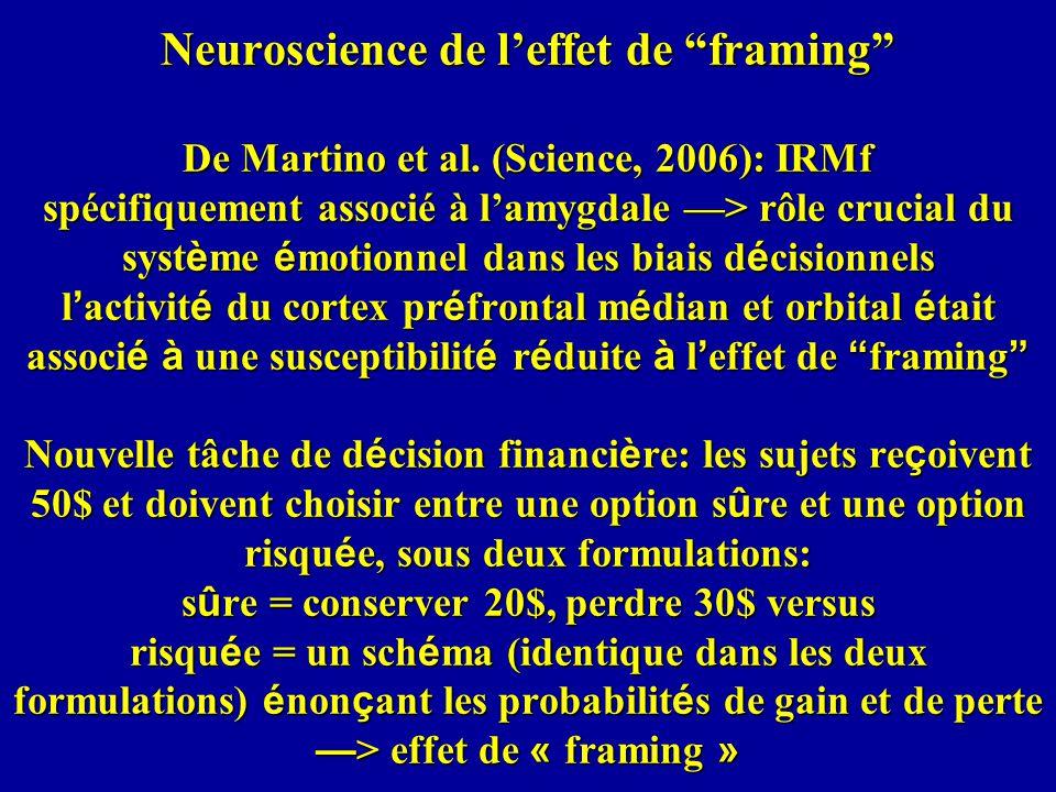 Neuroscience de leffet de framing De Martino et al.