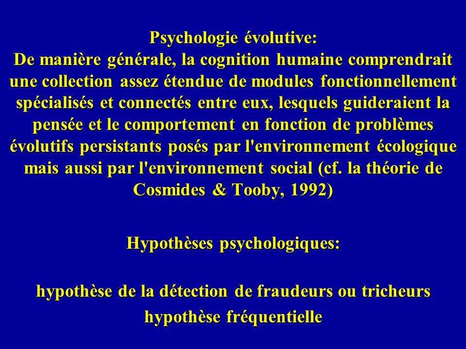 Psychologie évolutive: De manière générale, la cognition humaine comprendrait une collection assez étendue de modules fonctionnellement spécialisés et connectés entre eux, lesquels guideraient la pensée et le comportement en fonction de problèmes évolutifs persistants posés par l environnement écologique mais aussi par l environnement social (cf.