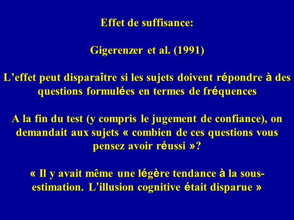 Effet de suffisance: Gigerenzer et al.