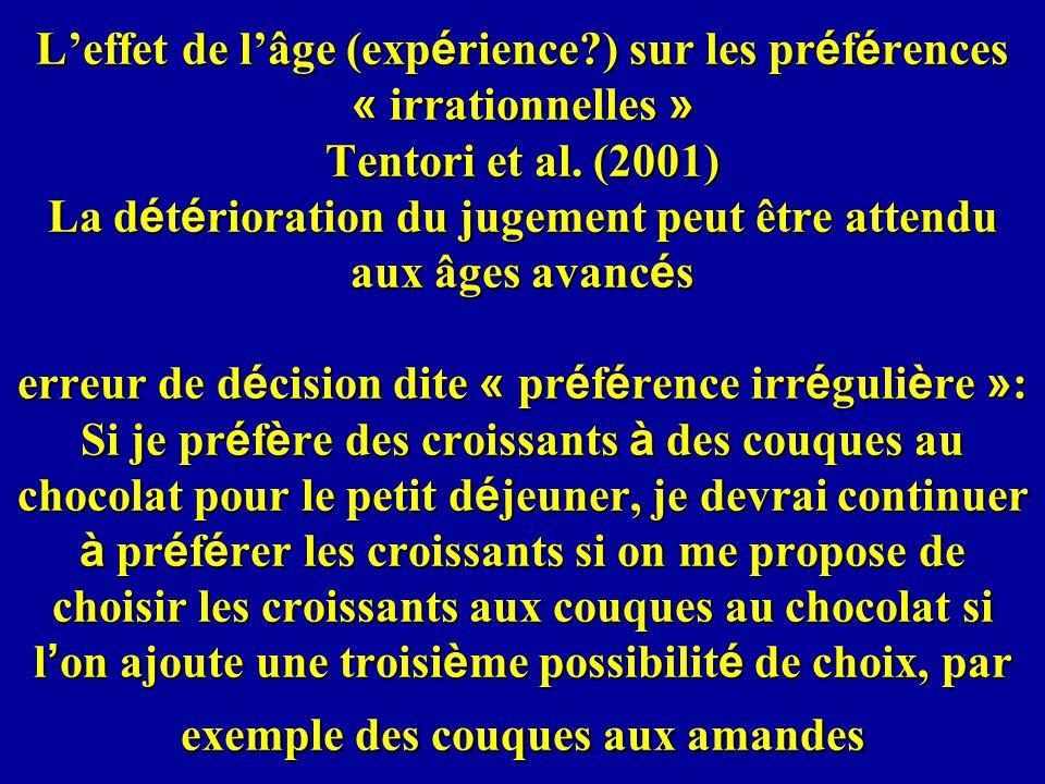 Leffet de lâge (exp é rience?) sur les pr é f é rences « irrationnelles » Tentori et al.