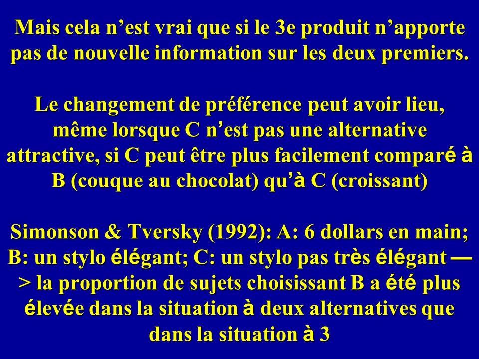 Mais cela nest vrai que si le 3e produit napporte pas de nouvelle information sur les deux premiers.
