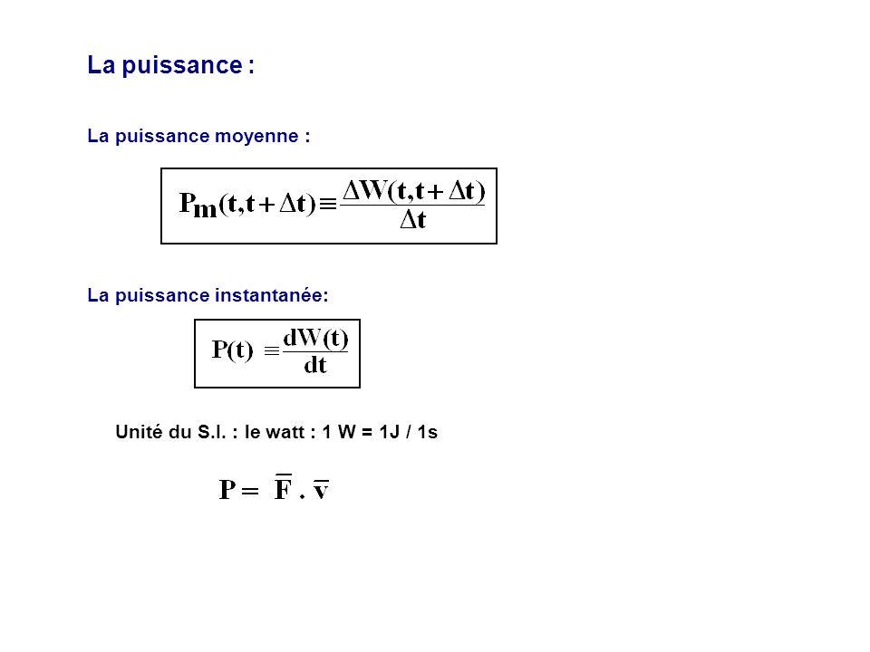 La puissance : La puissance moyenne : La puissance instantanée: Unité du S.I. : le watt : 1 W = 1J / 1s