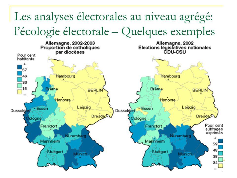 15 Effets nets des variables lourdes (profession et religion) sur le vote par parti en Flandre en 1999 SPVLDCVP Moyenne générale14,321,421,3 Situation professionnelle Cadres supérieurs-3,0+10,9+1,2 Employés-0,4-2,4+5,6 Indépendants-7,2+15,8+5,6 Ouvriers qualifiés+2,7-4,5+5,0 Ouvriers non qualifiés-1,5-1,2+1,1 Pensionnés+1,2-8,6-6,2 Non actifs+2,8+2,0-1,5 Convictions religieuses Aucune+3,8-3,0-15,4 Libre penseur+9,2+1,9-15,3 Catholique-1,3+1,7+4,0