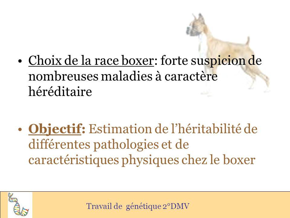 Choix de la race boxer: forte suspicion de nombreuses maladies à caractère héréditaire Objectif: Estimation de lhéritabilité de différentes pathologie