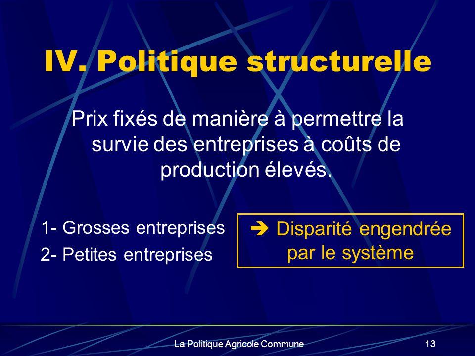 La Politique Agricole Commune13 Prix fixés de manière à permettre la survie des entreprises à coûts de production élevés. 1- Grosses entreprises 2- Pe
