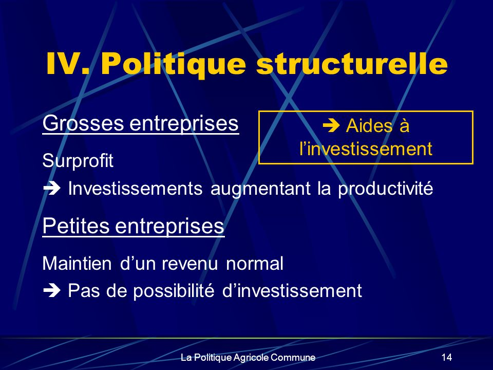 La Politique Agricole Commune14 IV. Politique structurelle Grosses entreprises Surprofit Investissements augmentant la productivité Petites entreprise