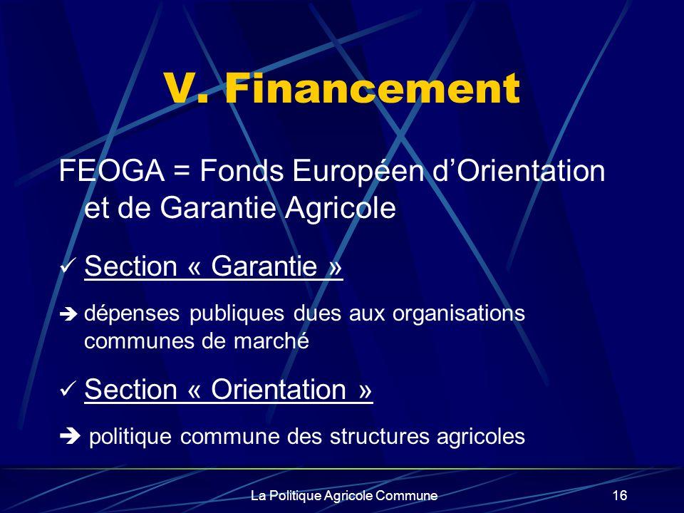 La Politique Agricole Commune16 V. Financement FEOGA = Fonds Européen dOrientation et de Garantie Agricole Section « Garantie » dépenses publiques due