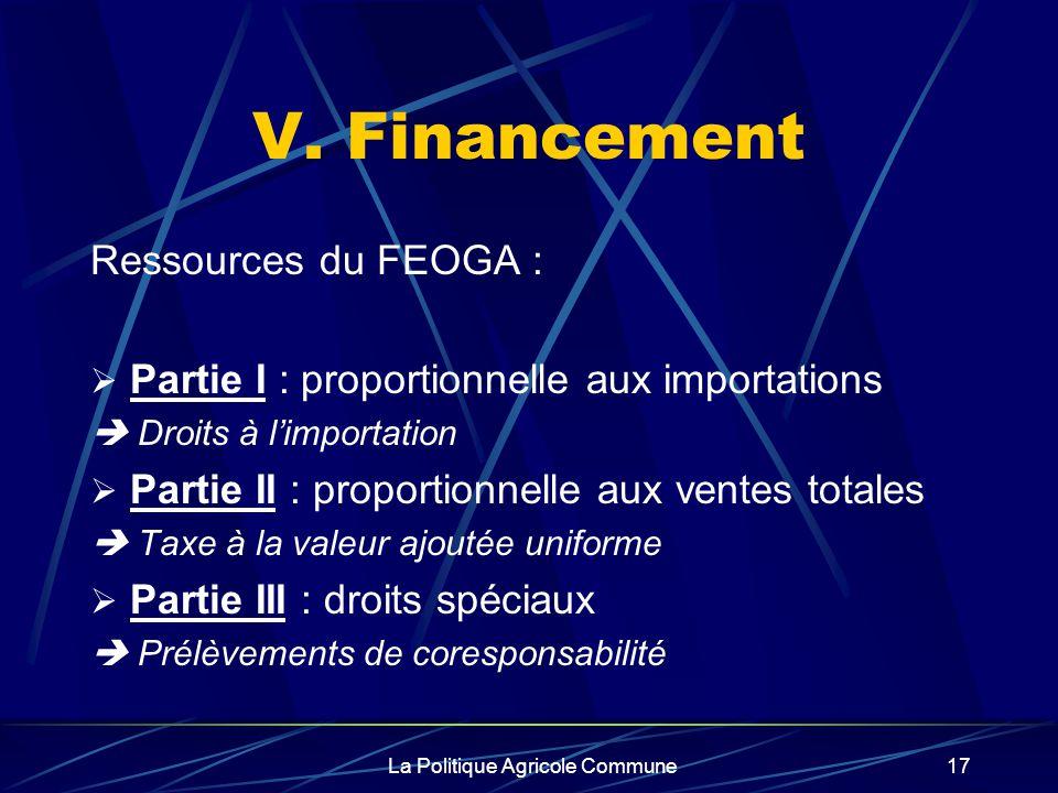 La Politique Agricole Commune17 V. Financement Ressources du FEOGA : Partie I : proportionnelle aux importations Droits à limportation Partie II : pro