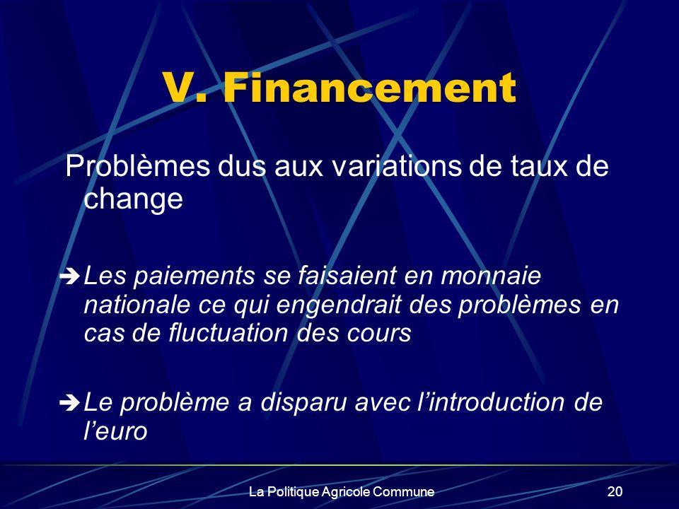 La Politique Agricole Commune20 V. Financement Problèmes dus aux variations de taux de change Les paiements se faisaient en monnaie nationale ce qui e