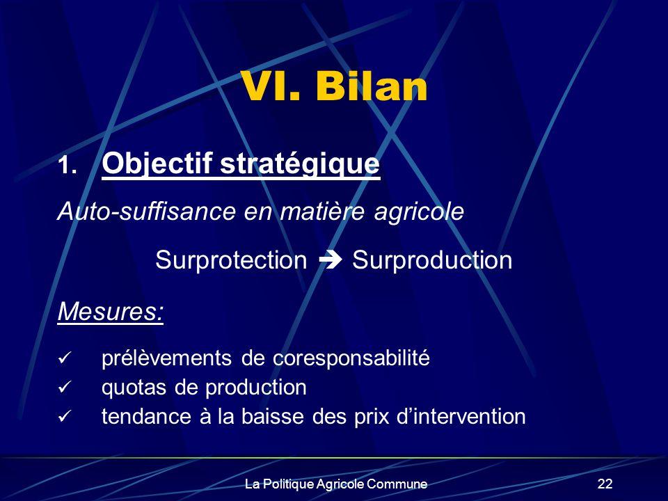 La Politique Agricole Commune22 VI. Bilan 1. Objectif stratégique Auto-suffisance en matière agricole Surprotection Surproduction Mesures: prélèvement