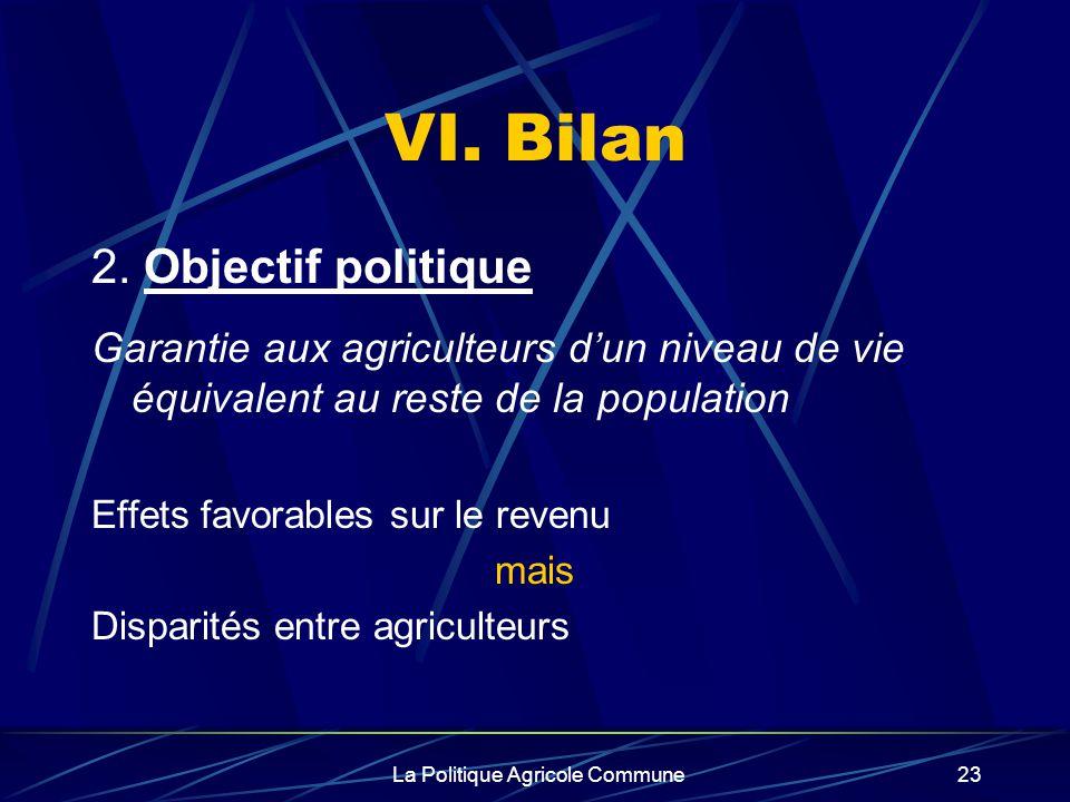 La Politique Agricole Commune23 VI. Bilan 2. Objectif politique Garantie aux agriculteurs dun niveau de vie équivalent au reste de la population Effet