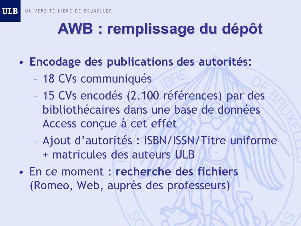 AWB : remplissage du dépôt Encodage des publications des autorités: –18 CVs communiqués –15 CVs encodés (2.100 références) par des bibliothécaires dans une base de données Access conçue à cet effet –Ajout dautorités : ISBN/ISSN/Titre uniforme + matricules des auteurs ULB En ce moment : recherche des fichiers (Romeo, Web, auprès des professeurs)
