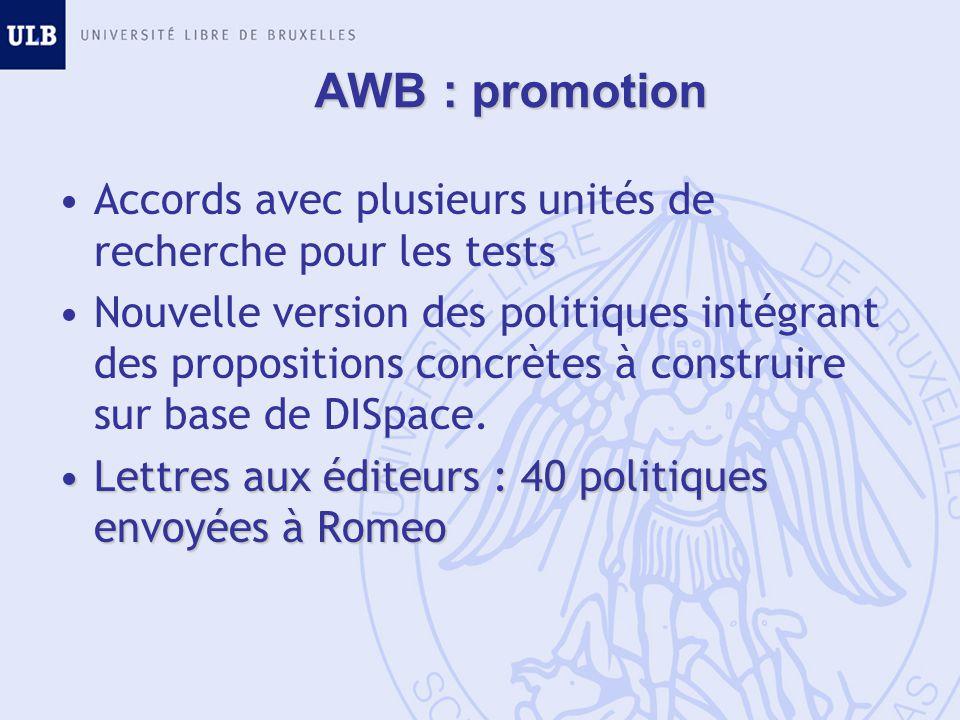 AWB : promotion Accords avec plusieurs unités de recherche pour les tests Nouvelle version des politiques intégrant des propositions concrètes à construire sur base de DISpace.