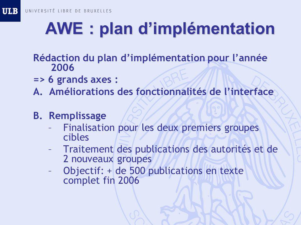 AWE : plan dimplémentation Rédaction du plan dimplémentation pour lannée 2006 => 6 grands axes : A. Améliorations des fonctionnalités de linterface B.
