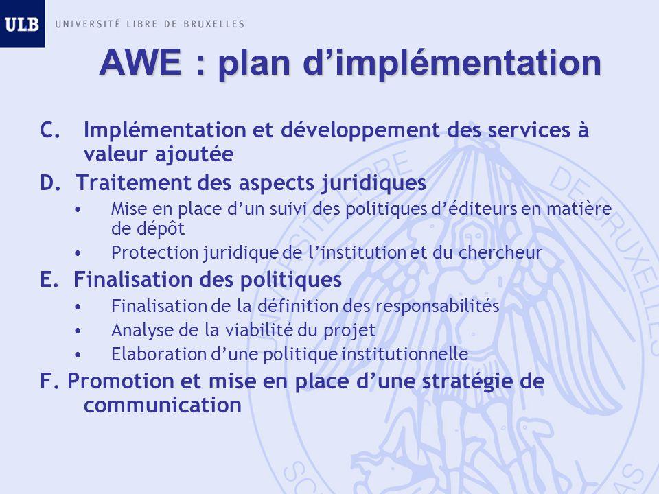 AWE : plan dimplémentation C.Implémentation et développement des services à valeur ajoutée D. Traitement des aspects juridiques Mise en place dun suiv