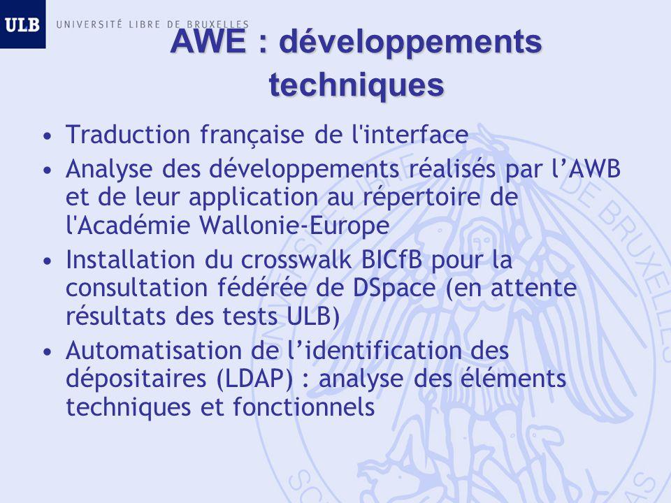 AWE : développements techniques Traduction française de l interface Analyse des développements réalisés par lAWB et de leur application au répertoire de l Académie Wallonie-Europe Installation du crosswalk BICfB pour la consultation fédérée de DSpace (en attente résultats des tests ULB) Automatisation de lidentification des dépositaires (LDAP) : analyse des éléments techniques et fonctionnels