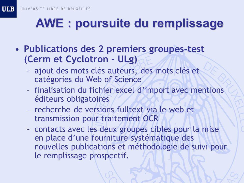 AWE : poursuite du remplissage Publications des 2 premiers groupes-test (Cerm et Cyclotron - ULg) –ajout des mots clés auteurs, des mots clés et catég