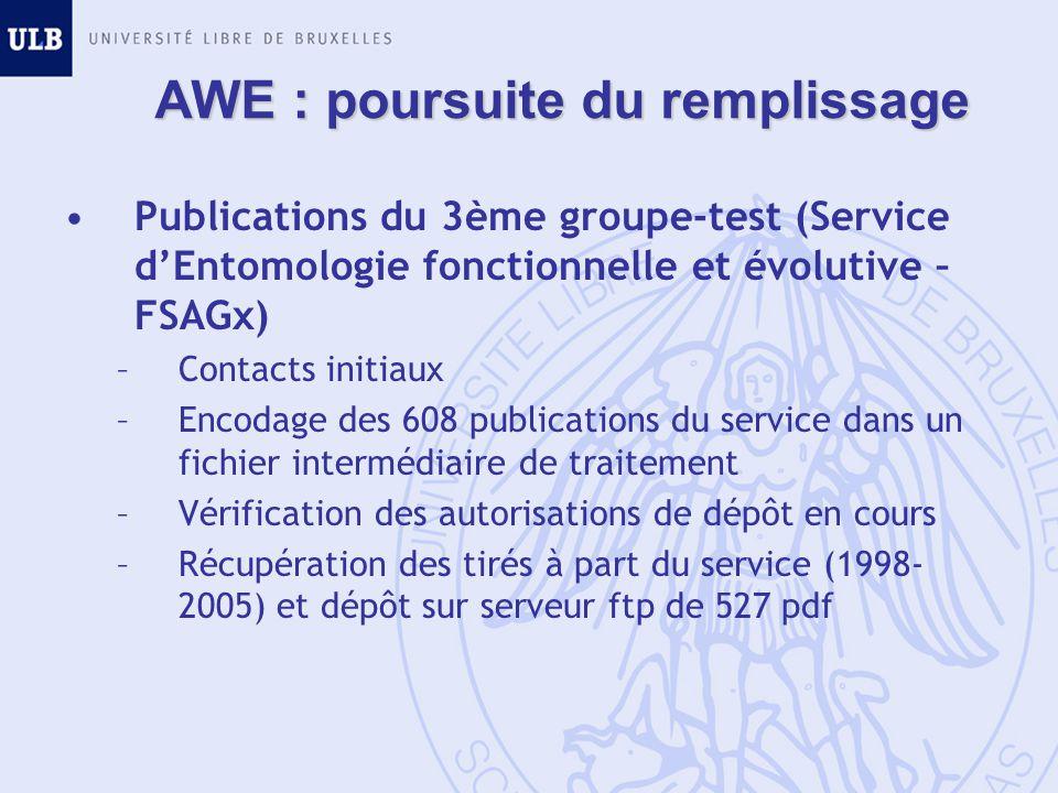 AWE : poursuite du remplissage Publications du 3ème groupe-test (Service dEntomologie fonctionnelle et évolutive – FSAGx) –Contacts initiaux –Encodage