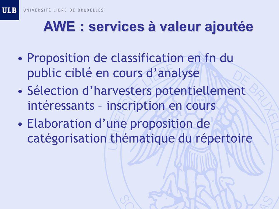 AWE : services à valeur ajoutée Proposition de classification en fn du public ciblé en cours danalyse Sélection dharvesters potentiellement intéressan