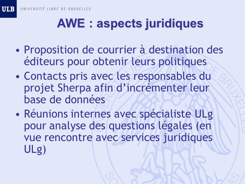 AWE : aspects juridiques Proposition de courrier à destination des éditeurs pour obtenir leurs politiques Contacts pris avec les responsables du proje