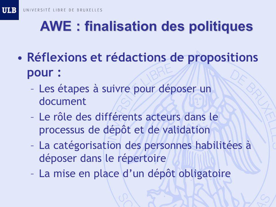 AWE : finalisation des politiques Réflexions et rédactions de propositions pour : –Les étapes à suivre pour déposer un document –Le rôle des différents acteurs dans le processus de dépôt et de validation –La catégorisation des personnes habilitées à déposer dans le répertoire –La mise en place dun dépôt obligatoire
